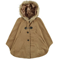 Faux Fur Hooded  Batwing Pocket Poncho Cape Coat in Camel Color