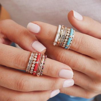 elegant Rings for Women Colorful White CZ Stone Ring 4colors delicate fashion Ring Party women Jewelry handmade Enamel cute ring