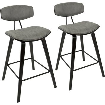 "Damato 26"" Mid-Century Counter Stools with Grey Fabric, Espresso (Set of 2)"