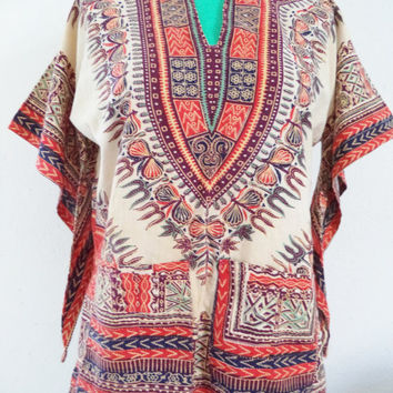 Original vintage dashiki shirt/hippie bohemian bell sleeve shirt with pockets/60's 70's shirt/women's size M-L
