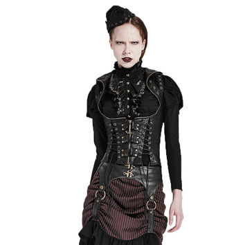 Steampunk High Collar Female Vest Waistcoat For Women Pu Leather Vest jackets Wth Adjustable Straps 2017 Women Winter Vests