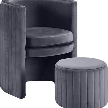 Selena Grey Velvet Accent Chair and Ottoman Set
