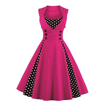 Going out Vintage A Line Polka Dot Fuchsia Dress