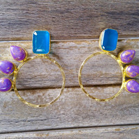 Sea Blue Stone and Purple Turquoise Flair Earrings