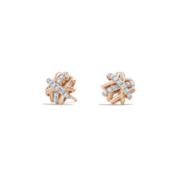 David Yurman 1mm Crossover 18K Rose Gold Earrings with Diamonds