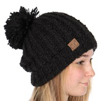 Black Twisty Chenille Knit CC Beanie Hat