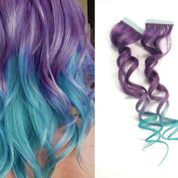 40x Tape in Skin Purple Lavender Turquoise Blue Ombre Human Hair Extensions