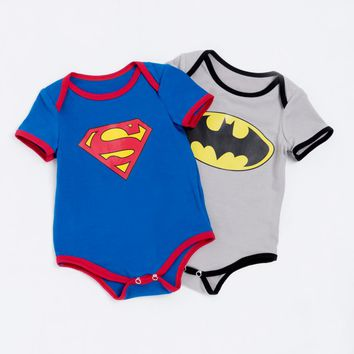 YK&Loving Short Sleeve Superman Baby Romper Batman Newborn Baby Boy Clothes Toddler Outfit Set Summer Style Birthday Costume Kid