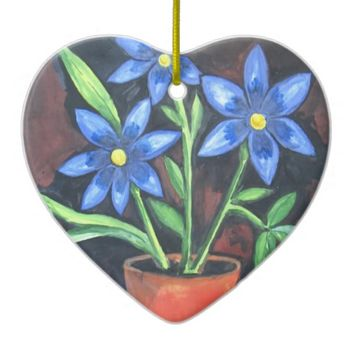 Blue Flowers Double-Sided Heart Ceramic Christmas Ornament
