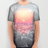 The Sun Is But A Morning Star (Mono Geometric Sunrise) All Over Print Shirt by Soaring Anchor Designs