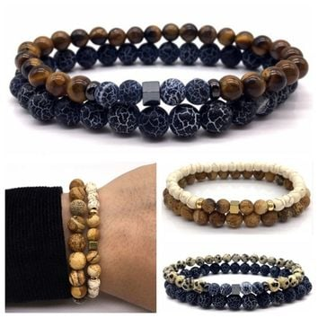 New Style Simple Tiger's Eye Stone Weathered Agate Bead Bracelet for Men Fashion Hand Chain Jewelry Gift