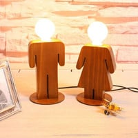Romantic Boy or Girl LED Humanoid Night Light Bed Lamp Home Illumination Light Wooden Bedroom Lamps