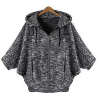 Black Hooded Batwing Sleeve Sweater Coat -SheIn(Sheinside)