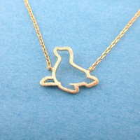 Minimal Sea Lion Seal Outline Shaped Charm Necklace in Gold | Animal Jewelry