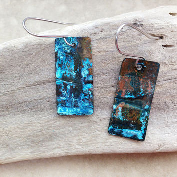 Forged copper patina earrings, blue natural patina on copper earrings, rustic textured copper ammonia patina, geometric jewelry, handmade