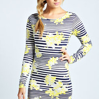 Kim Stripe And Floral Bodycon Dress