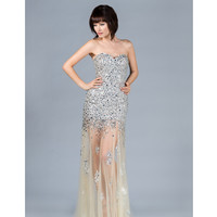 Champagne Strapless Sequin Prom Dress 2015 Prom Dresses