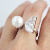 Half moon pearl-crystal dual ring ( adjustable ring - free size ring )