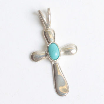 Avon Sterling Silver Cross Pendant Turquoise Accent Vintage NOS
