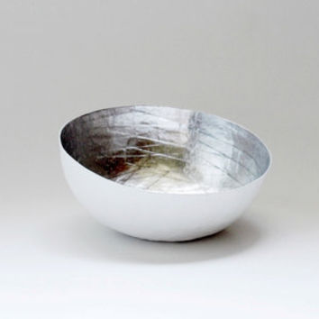 Paper Mache Bowl in White and Silver - The Mini - Made to order