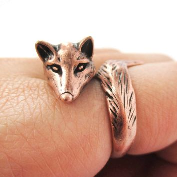 3D Fox Wrapped Around Your Finger Shaped Animal Ring in Copper | US Size 5 to 9