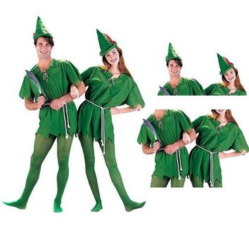 DCCKH6B Cosplay Halloween Green Sprite Green Robin Peter Pan Adult Peter Pan Costume Child Kids Cartoon Movie Cosplay