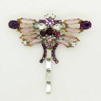 Czech Glass Lavender and Purple Shades Rhinestone Dragonfly Brooch, Figural Pin