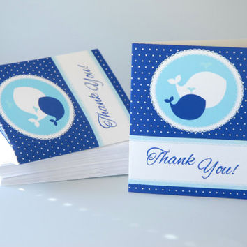 Nautical Baby Shower Thank You Cards with Message Inside + Envelopes + 50 ct