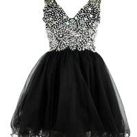 2015 New Short Ball Gown Crystal Prom Dress Black Cocktail Party Formal Dresses