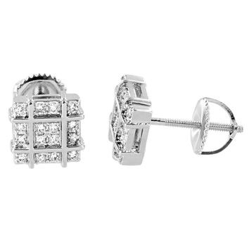 Simulated Diamonds Square Earrings 14K White Gold Finish Screw Back 8mm Mens Studs