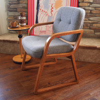 60s VINTAGE DANISH MODERN Chair Hon Grey Wool & Oak Wood Mid Century Modern Furniture Office, Desk, Accent, Dining, Side, Occasional, Arm
