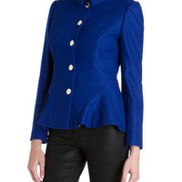 Wool peplum coat - Bright Blue | Jackets & Coats | Ted Baker UK