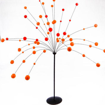 Laurids Lonborg Atomic Kinetic Red and Orange Ball Sculpture