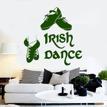 Vinyl Wall Decal Irish Dance Ireland Dancer Celtic Art Stickers Unique Gift (ig4283)