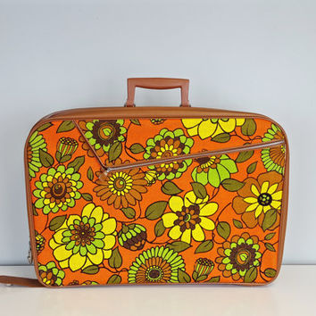 Vintage Retro Suitcase Orange Yellow Green Flowers, Retro Overnight Bag, Large Retro Flowers Bag, Bright Color Luggage, Retro Accessories