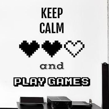 Wall Sticker Gaming Keep Calm And Play Games Vinyl Decal Unique Gift (z3093)