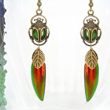 JEWEL BEETLE EARRINGS, Insect Jewelry, Elytra Beetle, Scarab Beetle, Peridot Crystal, Handcrafted Jewelry, Made in U.S.A., Real Beetle Wing