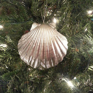 Seashell Ornament Set of 3.  Silver Beach Theme Christmas Decoration.  Scallop Shell Beach Ornament.