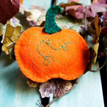 Pumpkin wool felt ornament Autumn Halloween Thanksgiving decor Fall decoration handmade Housewarming home decor