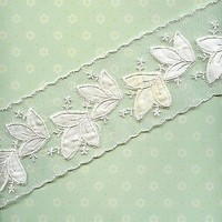 White Embroiderd Net Lace Trim 3.5 inches wide w /off white satin flowers