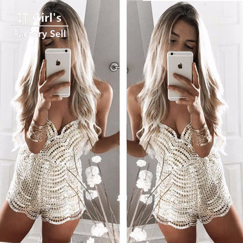 solid sequined jumpsuit sexy women casual rompers womens jumpsuit combinaison femme body feminino playsuit plus size jumpsuits