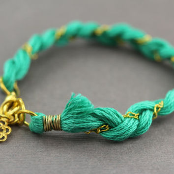Modern Friendship Bracelet : Braided Teal Cotton Thread and Gold Plated Chain Friendship Bracelet, Gold Plated Charm Accent.