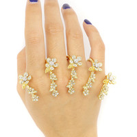 Golden Rhinestone Floral Pattern Link Ring Pack