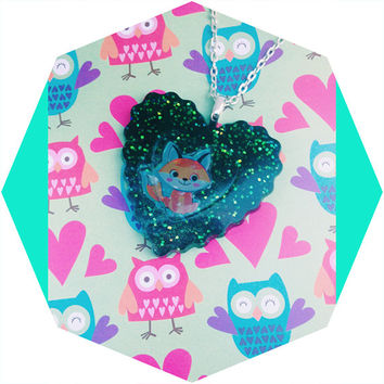 Fox Glitter Heart Pendant/Kawaii Necklace/Cute