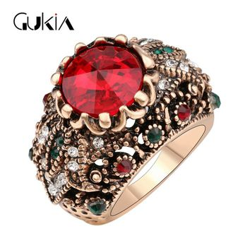 Gukin Rings For Women Plating Ancient Gold Vintage Jewelry Ottoman Style Jewelry game of thrones Crystal Ring
