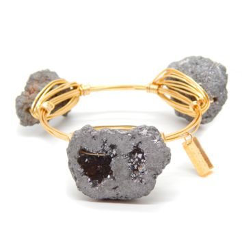 The Magic Bangle: Silver Druzy & Gold Plated