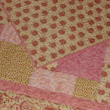 Quilt or Throw Blanket Romantic Feminine Patchwork in Rosy Pink and Soft Golden Yellow
