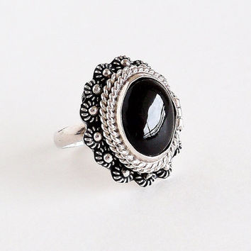 Sterling Onyx Poison Locket Ring Size 7