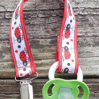 Ladybug Ribbon, Red Pacifier Holder, Binky Clip, Pacifier Clip or Toy Clip