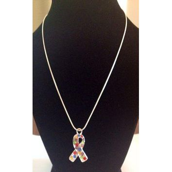 Autism Awareness Crystal Ribbon Pendant Necklace